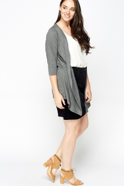 Grey Asymmetric Casual Cardigan