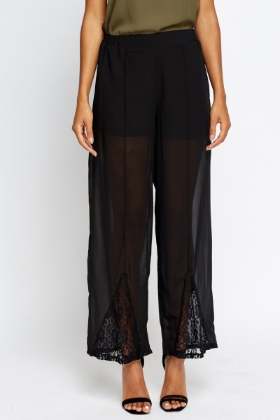 Lace Insert Mesh Overlay Trousers