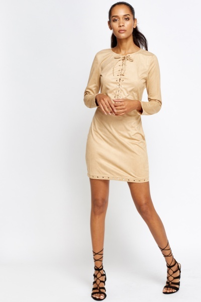 Lace Up Front Tan Velveteen Dress