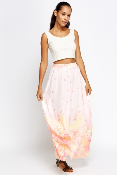 Pastel Floral Maxi Skirt