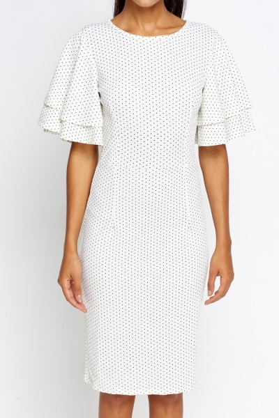 Polka Dot Flared Sleeve Midi Dress