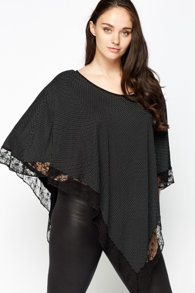 Polka Dot Lace Trim Poncho Top