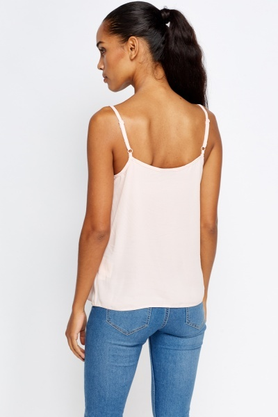 Ruffled Front Light Peach Cami Top