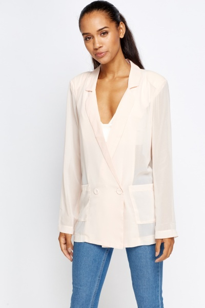 Sheer Long Line Blazer