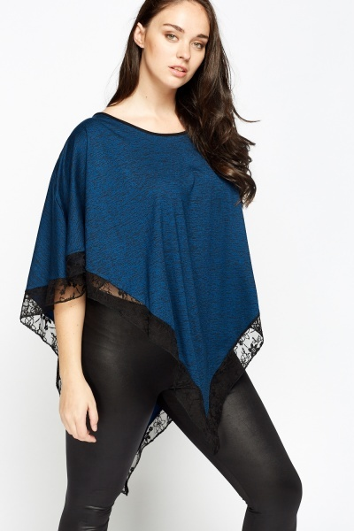 Speckled Lace Trim Poncho Top