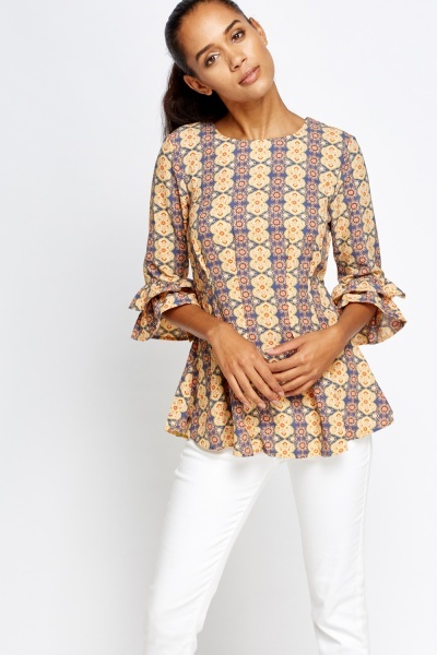 Yellow Flared Printed Sleeves Top