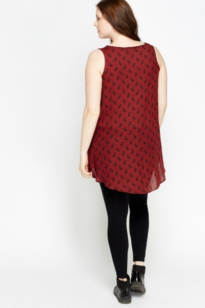 Button Front Maroon Top