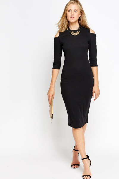 Cold Shoulder Midi Bodycon Dress