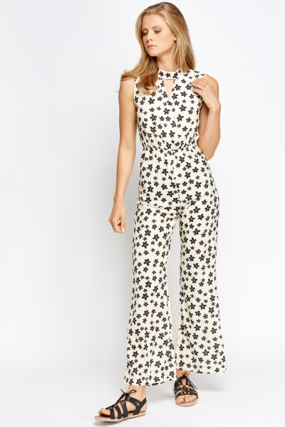 Flower Print Halter Neck Wrap Jumpsuit