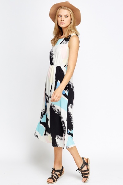Midi Printed Elasticated Dress