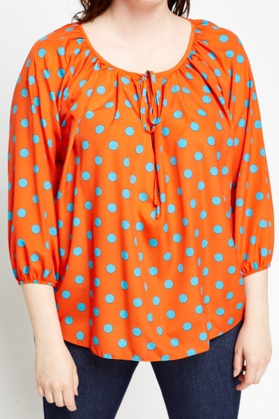 Orange Polka Dot Top