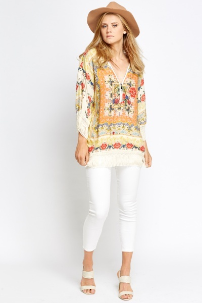 Ornate Print Tassel Top