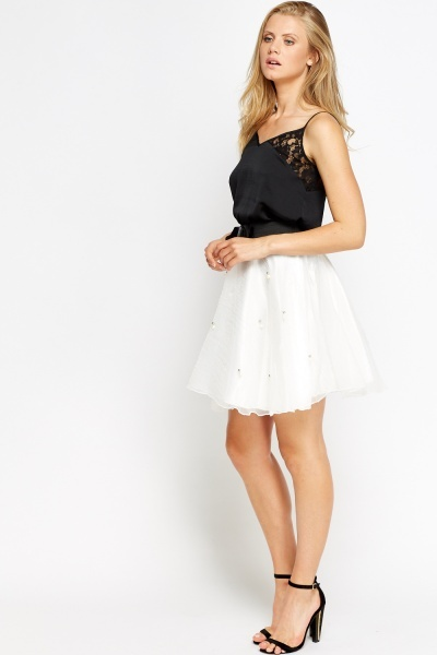 Pearl Encrusted Puffy Skirt