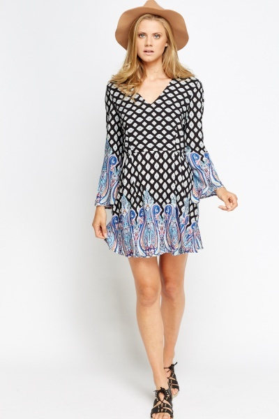 Printed V-Neck Flared Dress