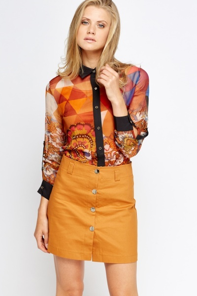 Rust Ornate 2 In 1 Blouse Shirt