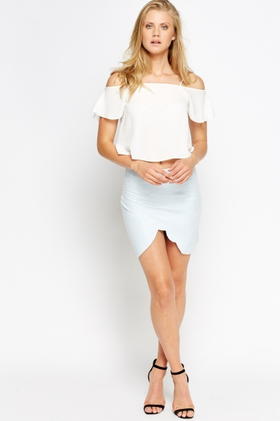 Scallop Wrap Front Skirt