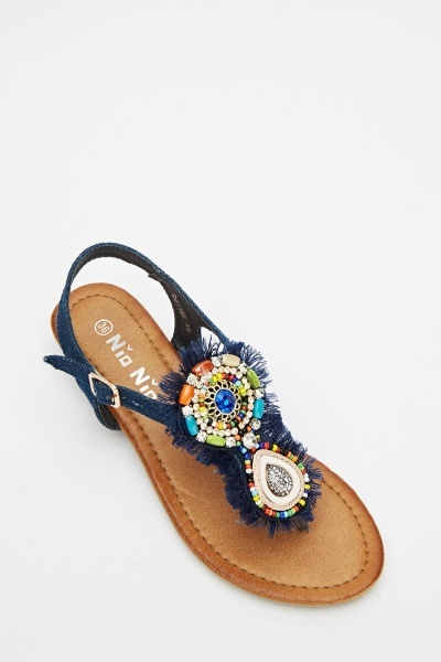 Embellished Front Flip Flop Wedge Sandals