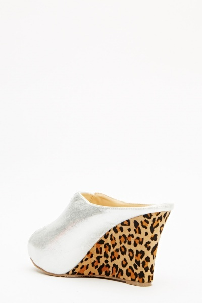 Encrusted Front Contrast Leopard Print Wedge
