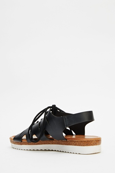 Faux Leather Cut Out Sling Back Sandals