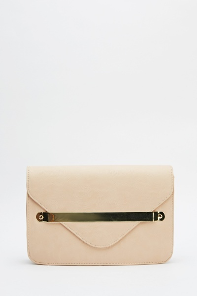 Faux Leather Detailed Clutch Bag