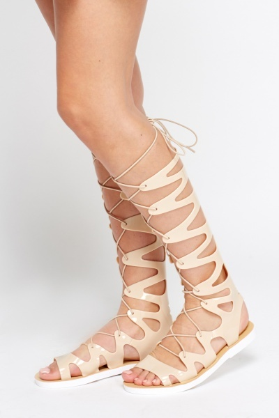 PU High Knee Gladiator Tie Up Sandals