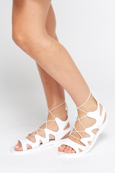 PU Tie Up Ankle Sandals