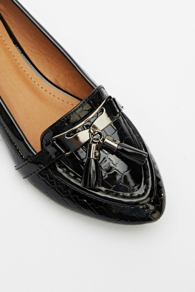 Textured Black Loafers