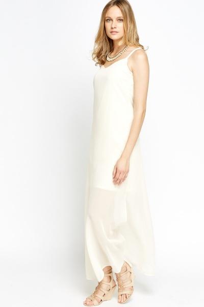 Cream Slit Insert Maxi Dress