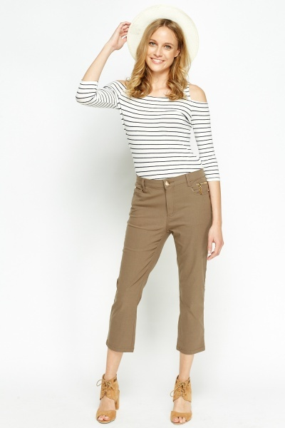 Cropped Brown Jeans