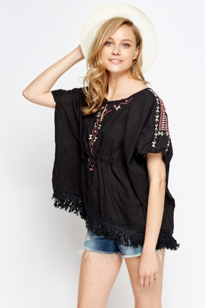 Embroidered Box Keyhole Top