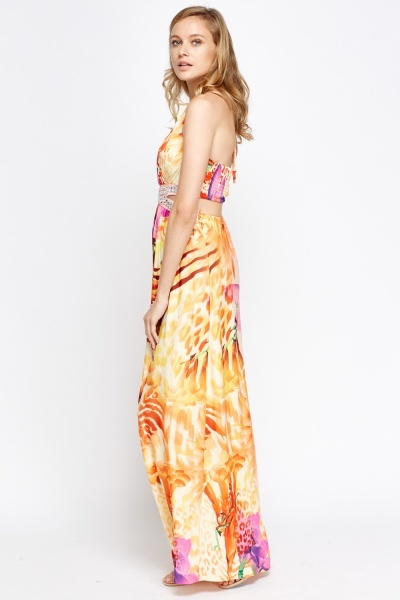Encrusted Open Back Printed Maxi Dress