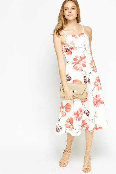 Floral White Swing Midi Dress