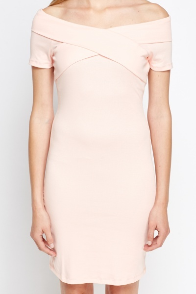 Off Shoulder Bodycon Midi Dress