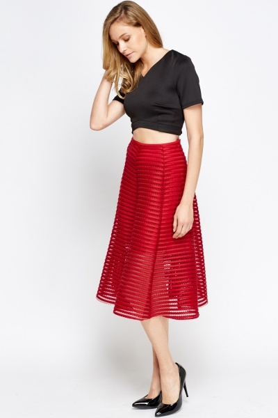 Striped Mesh Wine Skater Skirt