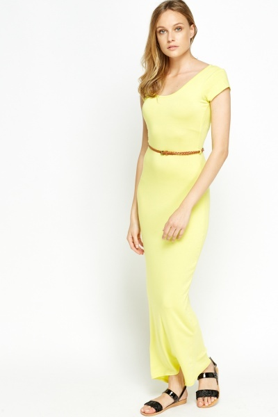 Yellow Belted Basic Maxi Dress