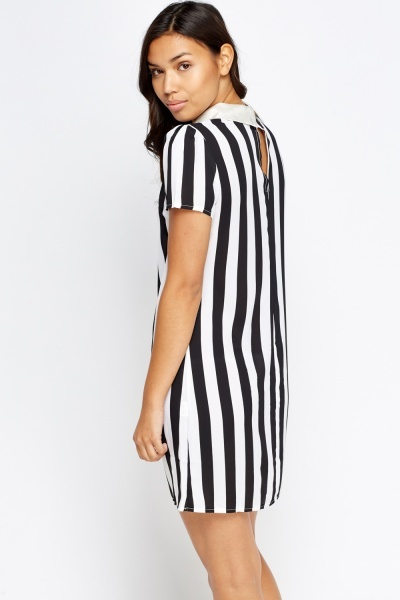 Collar Mono Striped Mini Dress
