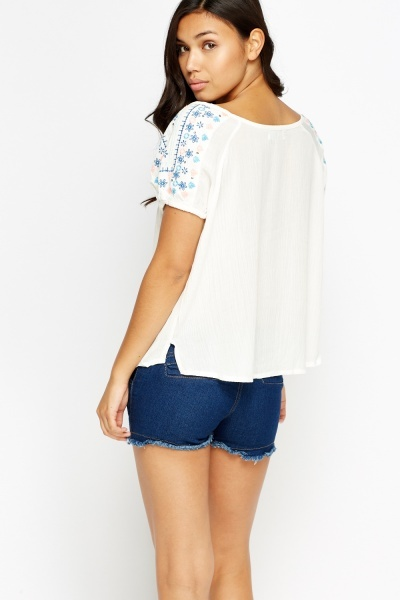 Embroidered Keyhole Front Top