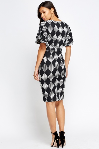 Flared Overlay Geo Dress