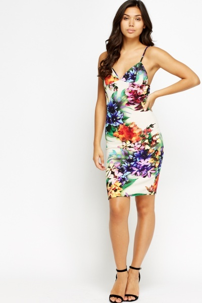 Floral Bodycon Semi Sweetheart Dress