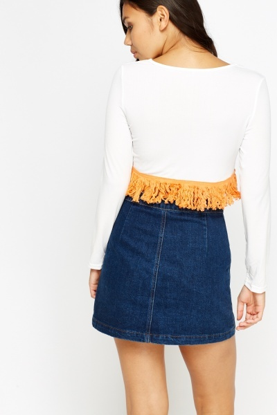 Fringed Hem Long Sleeve Crop Top