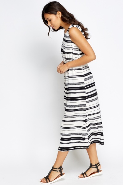 Mono Striped Elasticated Maxi Dress