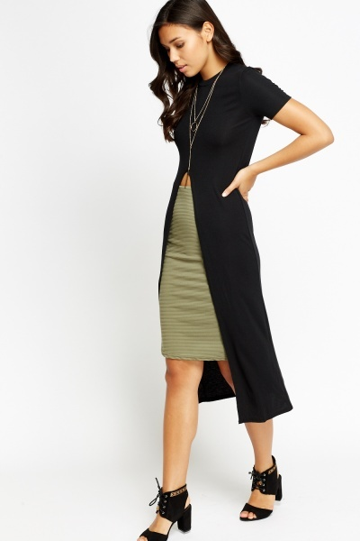 Slit Front Black Long Line Top