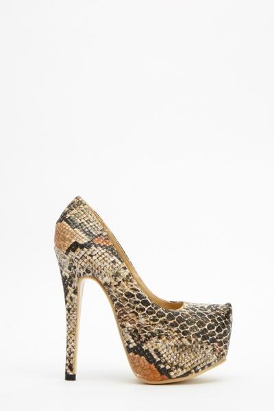 Animal Mock Croc Pattern Platform Heels