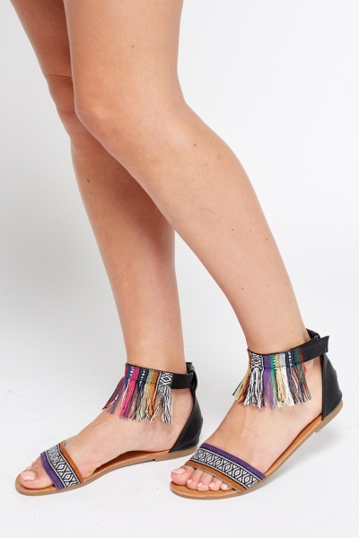 Aztec Print Fringed Ankle Sandals