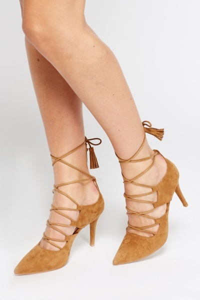 Court Suedette Tie Up Heel