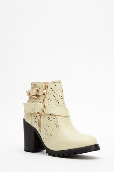 Laser Cut Buckle Ankle Boots