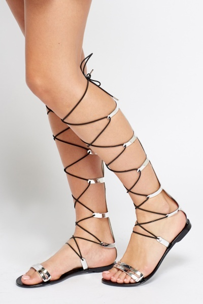 Metallic Knee Tie Up Sandals
