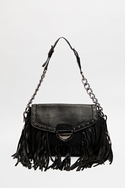 Studded Front Fringed Handbag