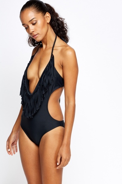 Black Plunge Tassel Swimsuit