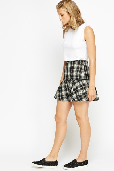 Checked Peplum Swing Skirt